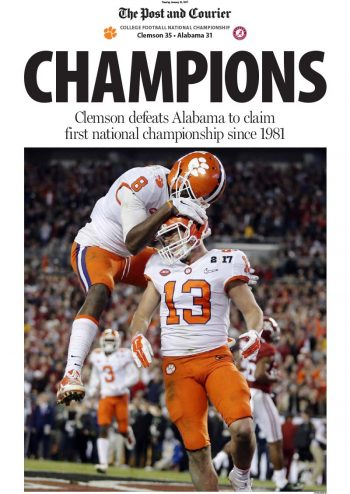 The Post and Courier Clemson NCAA National Football Championship Front Page Poster