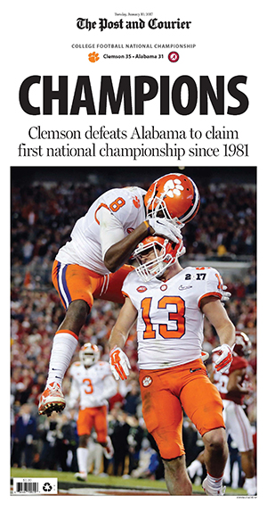The Post and Courier Clemson NCAA 2017 National Football Championship Front Page